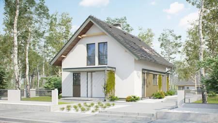 Проект узкого дома с небольшой мансардой в традиционном стиле
