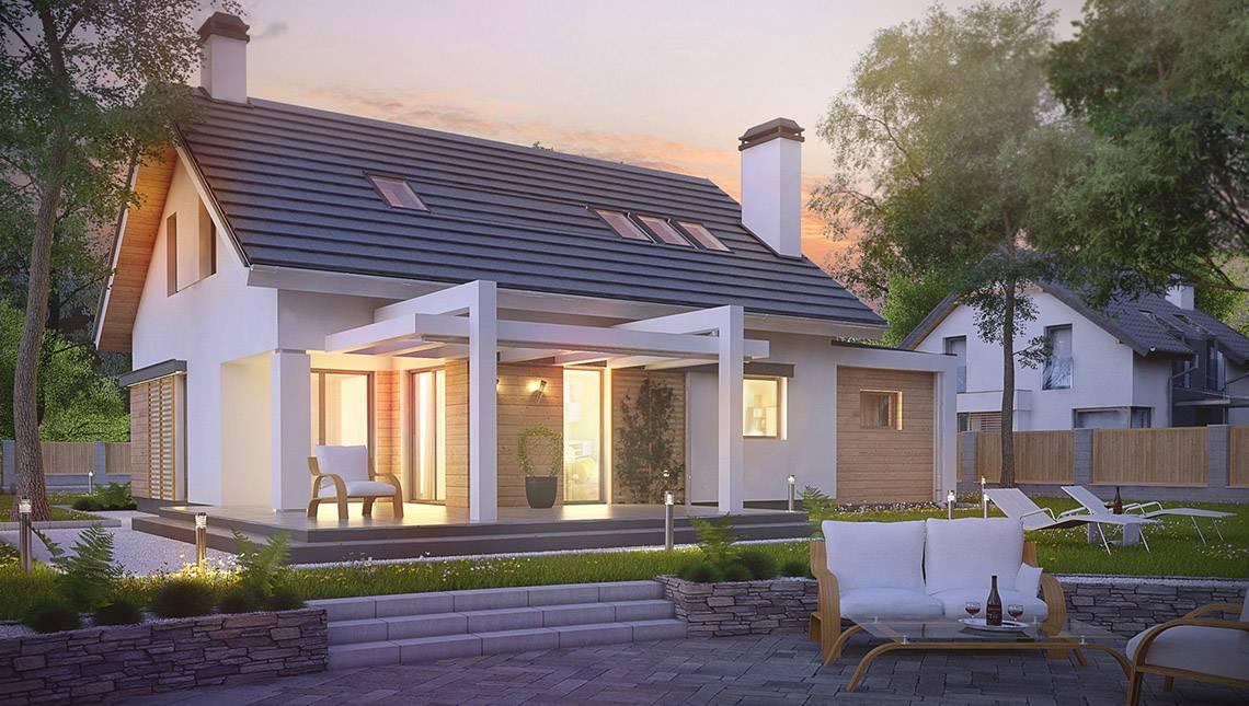Проект практичного дома с мансардой и гаражом с левой стороны