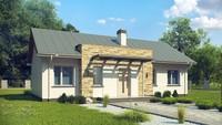Проект простого яркого одноэтажного дома