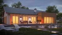 Проект 1 этажного дома несложной формы с гаражом для 2 авто