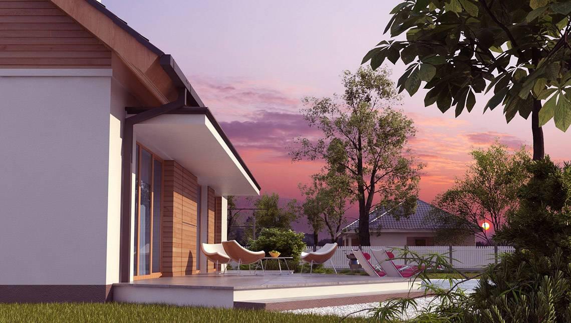Проект одноэтажного недорогого функционального дома