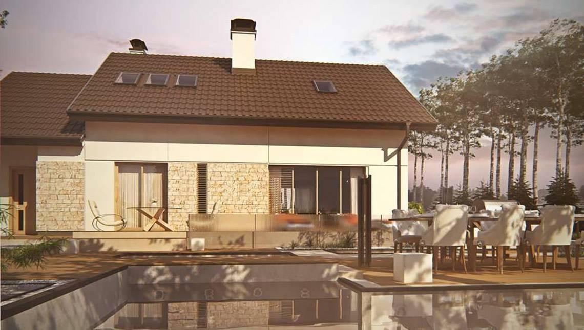 Проект дома с двускатной кровлей и удобным гаражом