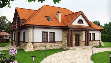 Проект дома на две семьи с колоннами