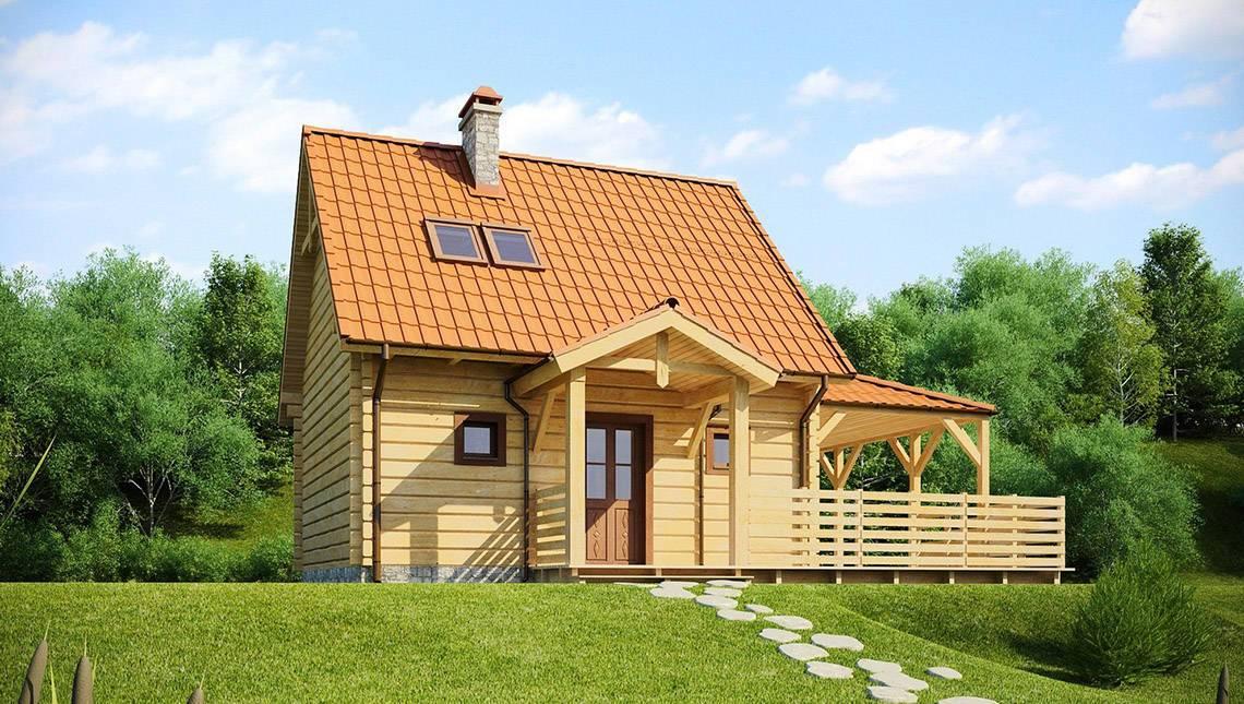 Проект дома с деревянным фасадом и боковой террасой