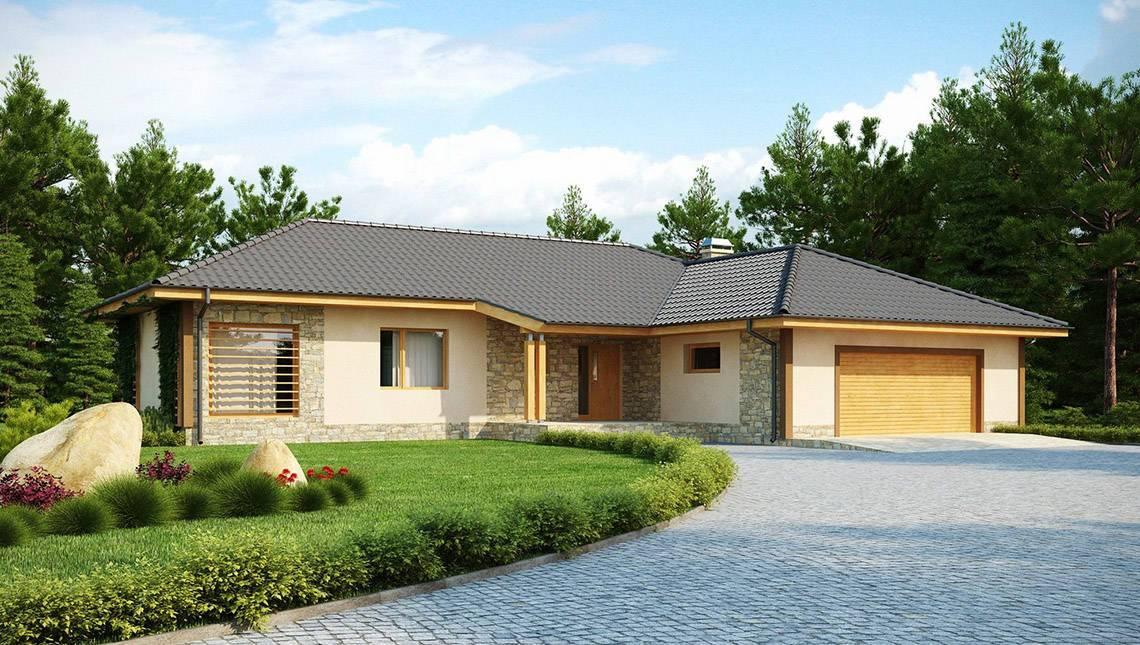 Проект коттеджа с гаражом для двух автомобилей и четырехскатной крышей