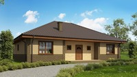 Классический одноэтажный проект дома с кирпичным фасадом