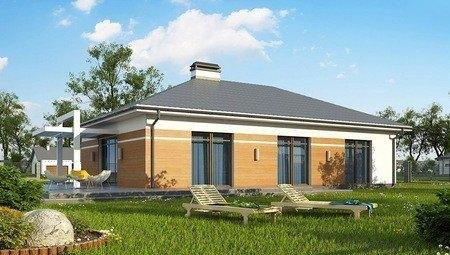 Стильный проект одноэтажного дома с большим гаражом для 2 авто