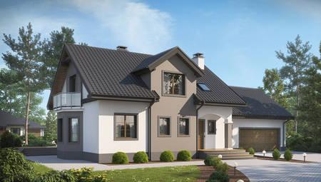 Проект аристократичного элегантного дома с гаражом для двух авто