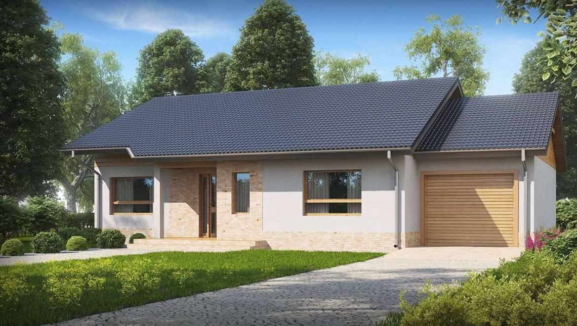 Проект одноэтажного дома в английском стиле с гаражом