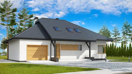 Проект дома с мансардой и пристроенным гаражом