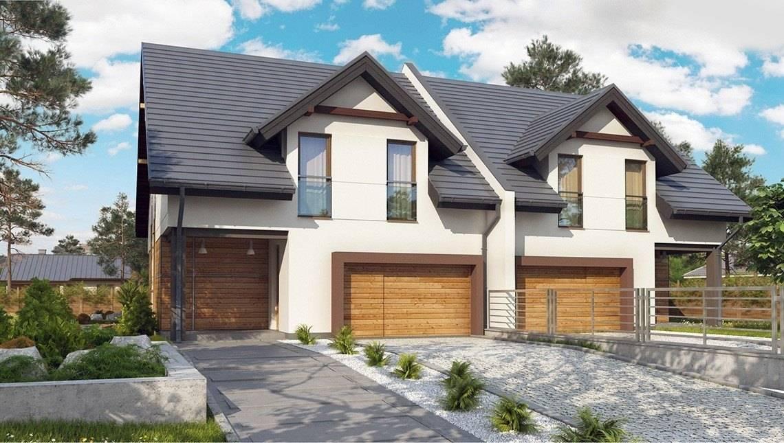 Проект 2-х этажного дома на две семьи с гаражом