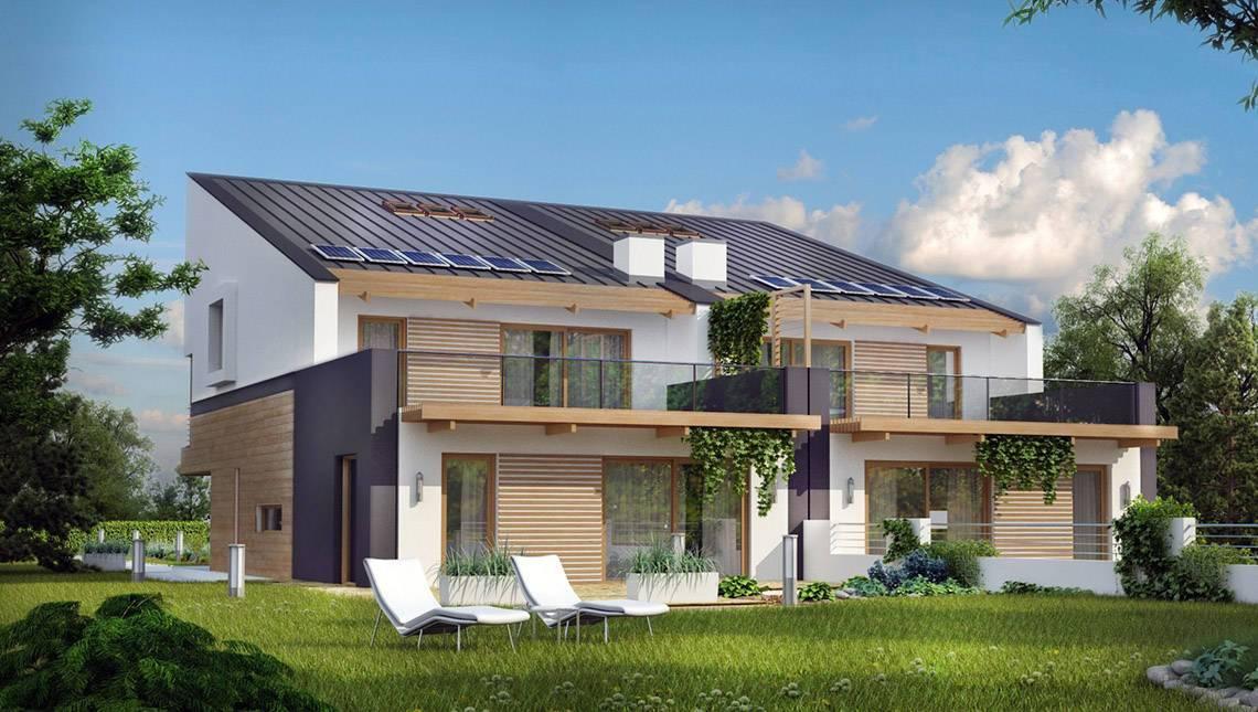 Современный проект дома на две семьи