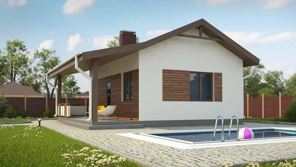 Проект аккуратной бани с террасой и бассейном