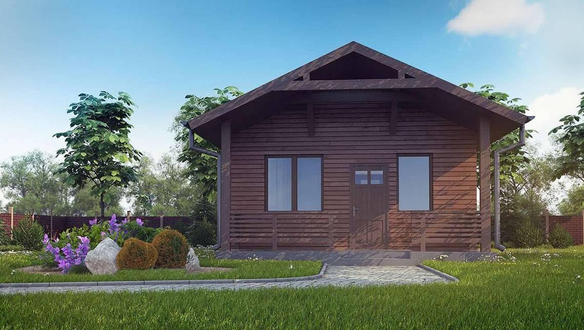 Небольшая сауна с деревянным фасадом