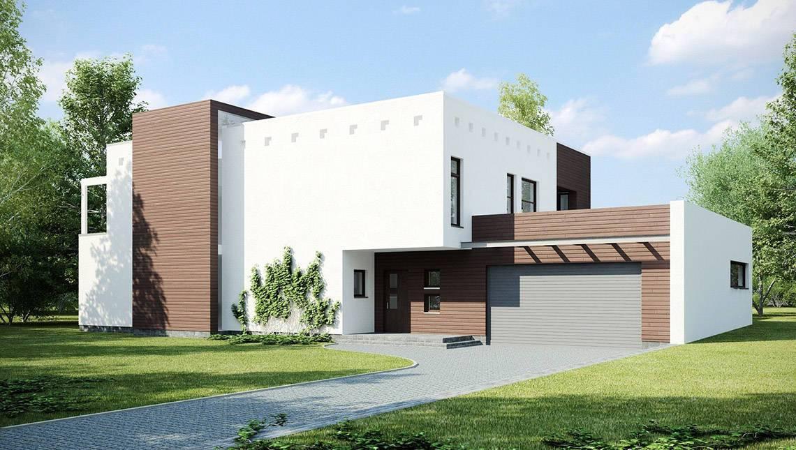 Двухэтажный дом с плоской кровлей и гаражом на 2 машины