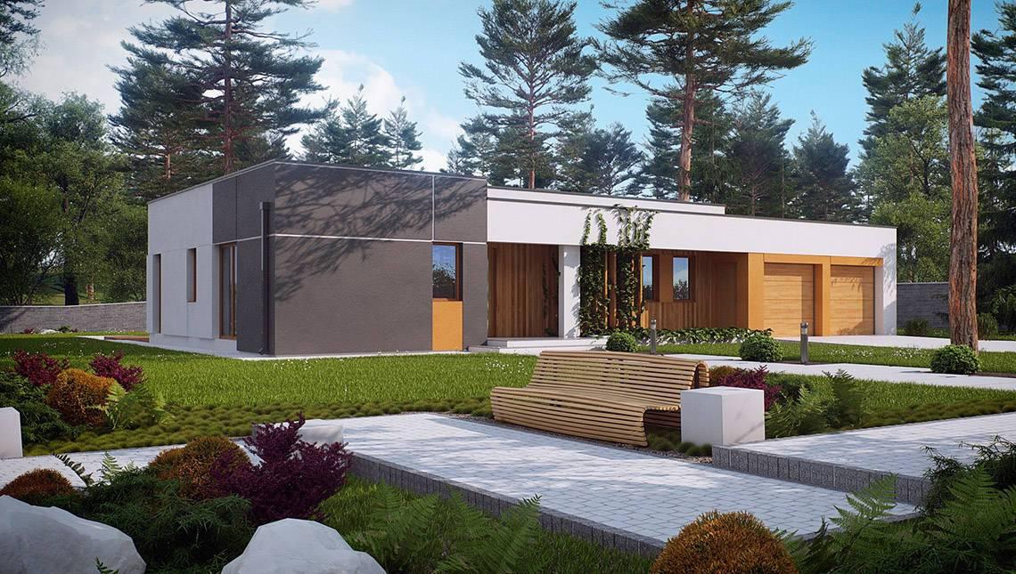 Модерновый одноэтажный дом в стиле хай-тек
