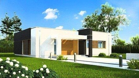 Современный одноэтажный загородный дом с плоской кровлей