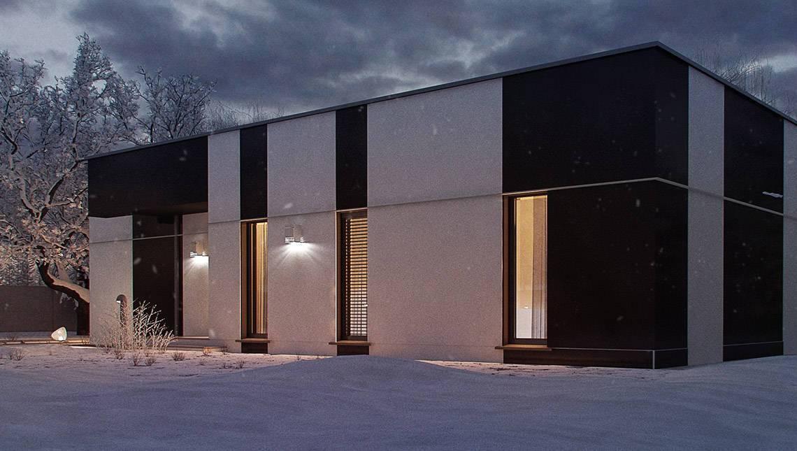 Запоминающийся проект одноэтажного дома в стиле хай-тек