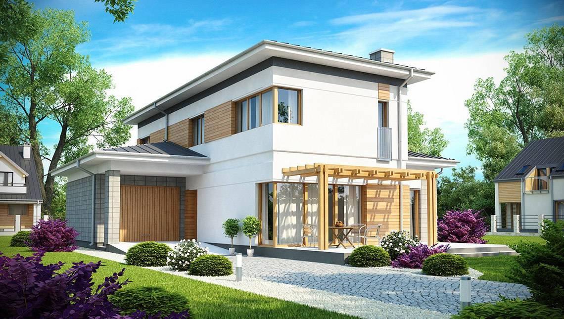 Проект загородного двухэтажного дома вытянутой формы