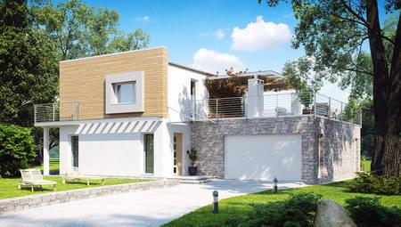 Проект ультрасовременного дома с террасой над гаражом