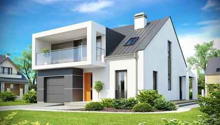 Проект современного дома с мансардой и оригинальным балконом