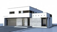 Проект дома модерн с гаражом для двух авто
