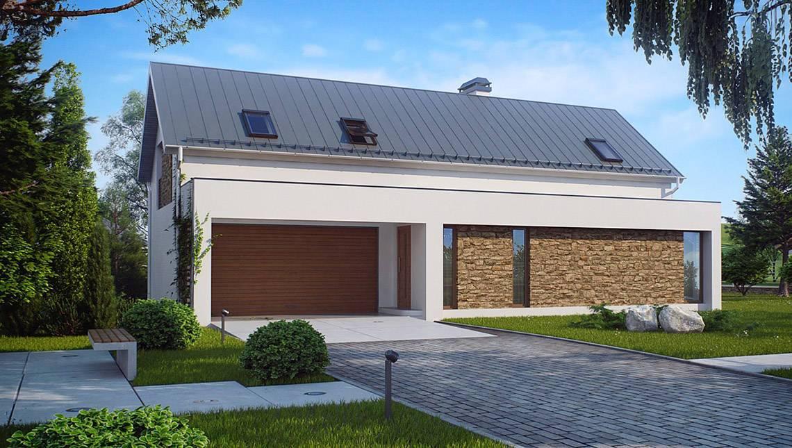 Проект симпатичного дома с мансардой и гаражом
