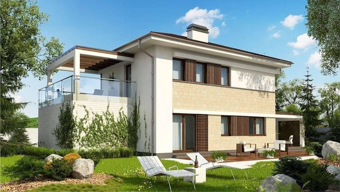 Двухэтажный коттедж в стиле модерн с гаражом
