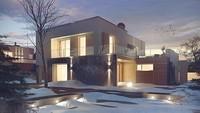 Аккуратный двухэтажный дом с плоской крышей