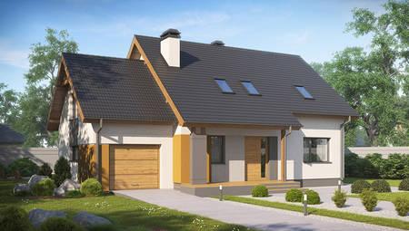 Проект красивого аккуратного дома с мансардой и гаражом