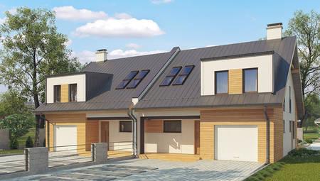 Проект коттеджа на две семьи с отдельными входами и двумя гаражами