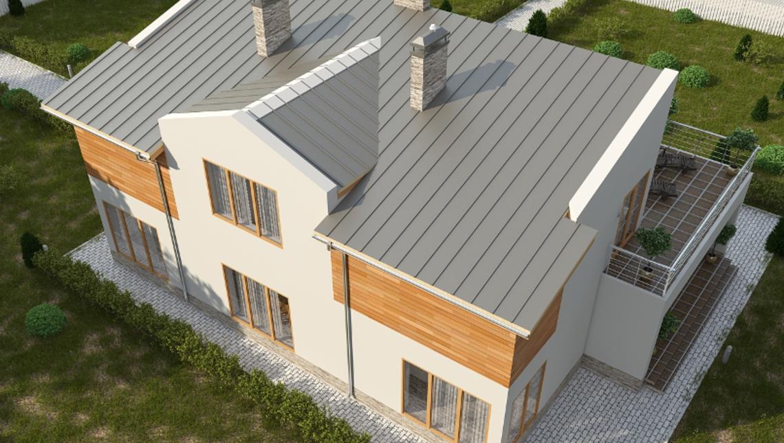 Комфортный проект коттеджа с красивой террасой на втором этаже