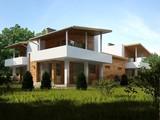 Современный коттедж на две семьи с плоской крышей