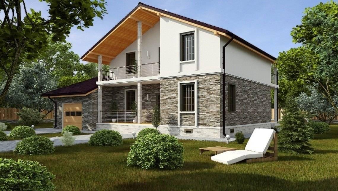 Проект двухэтажного загородного коттеджа с кирпичным фасадом и пристроенным гаражом