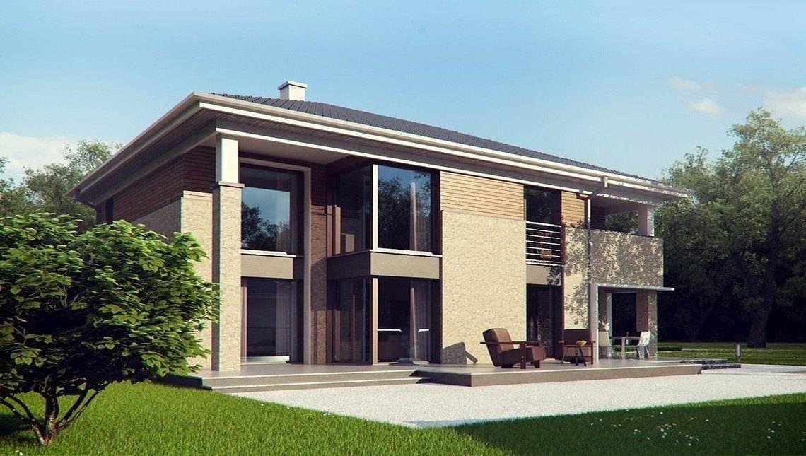 Проект современной комфортной усадьбы с сауной на первом этаже