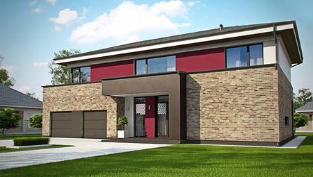 Современный проект двухэтажного дома с гаражом на две машины и баней
