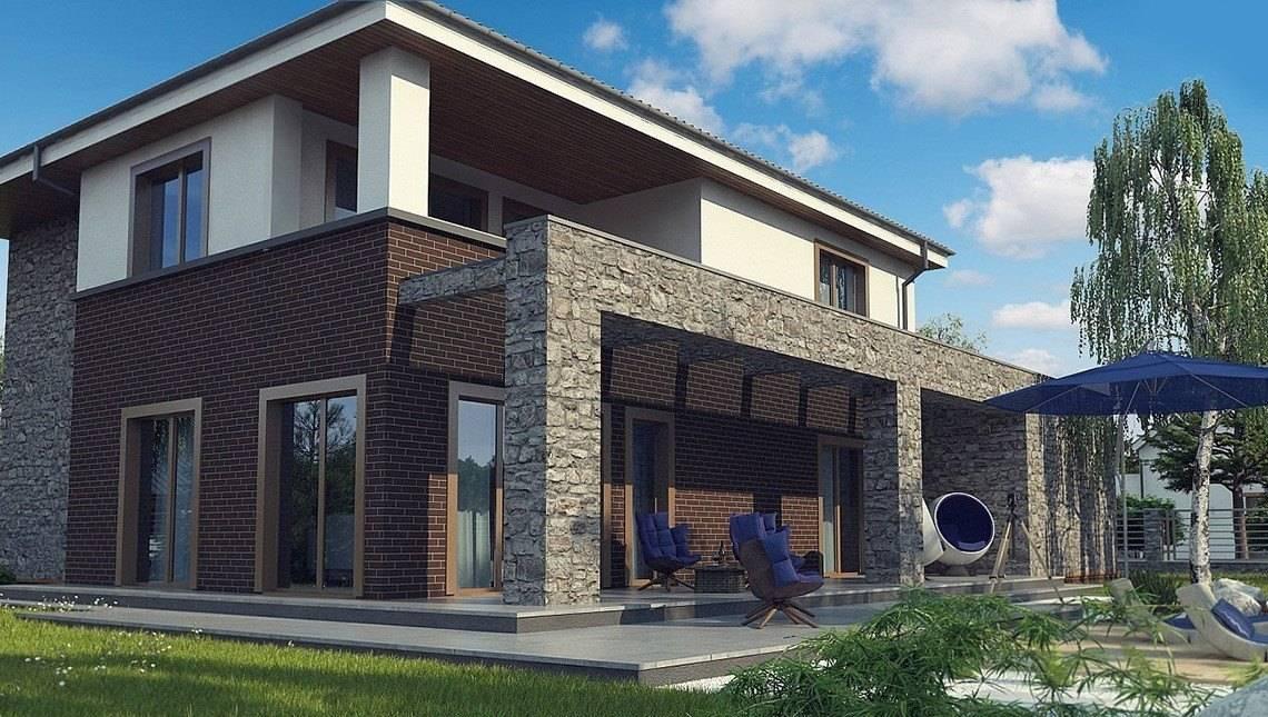 Проект двухэтажного дома с натуральным камнем в фасаде