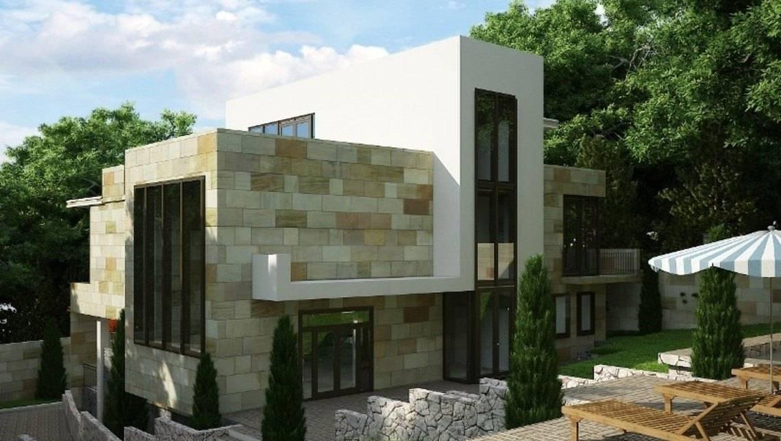 Трехэтажный особняк в стиле модерн для наклонного участка