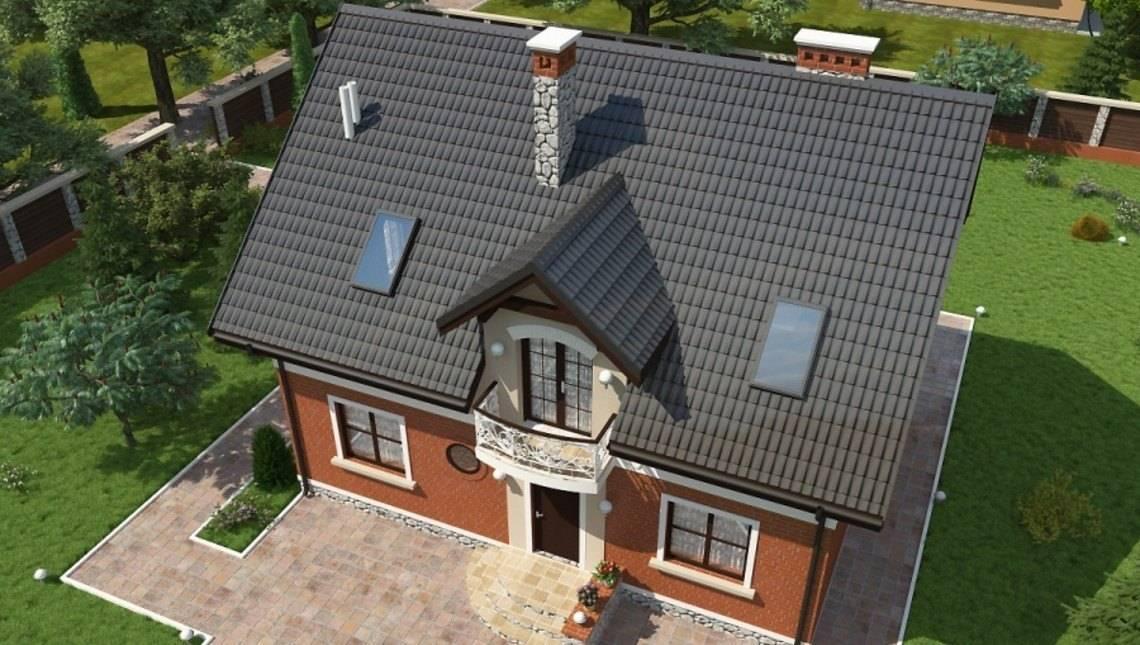 Проект загородного коттеджа с мансардой и красивыми балконами
