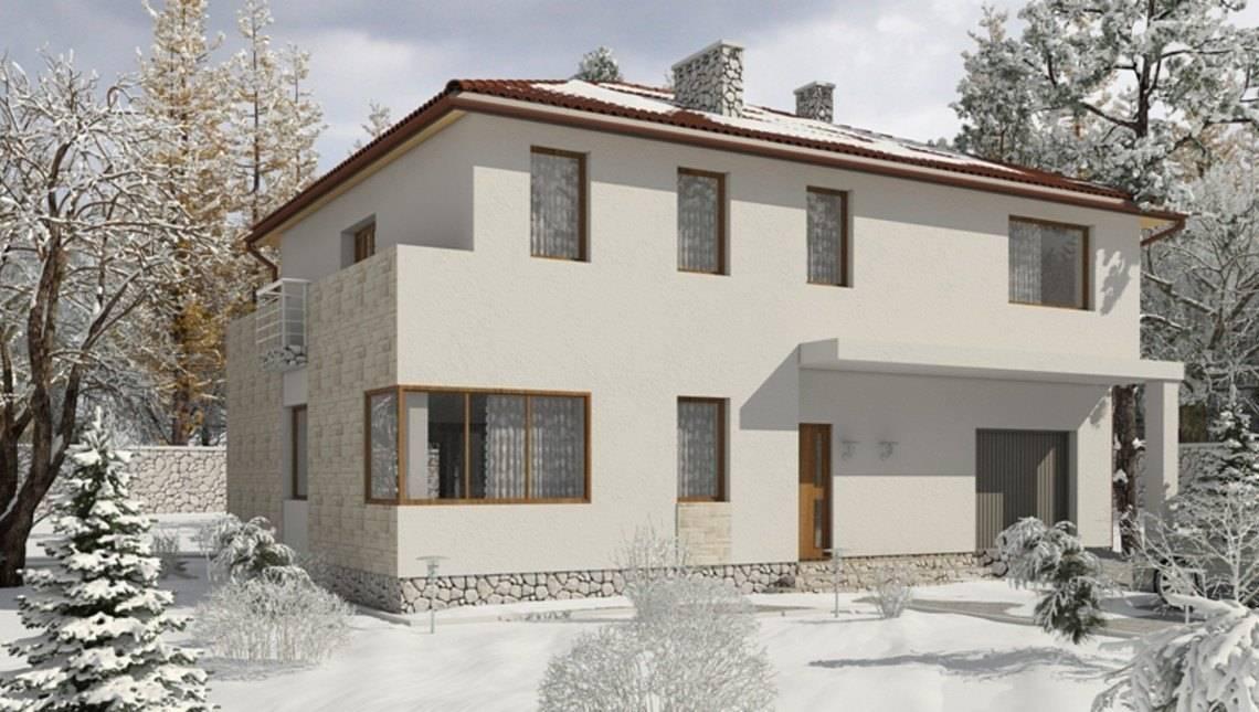 Интересный проект двухэтажного особняка с гаражом