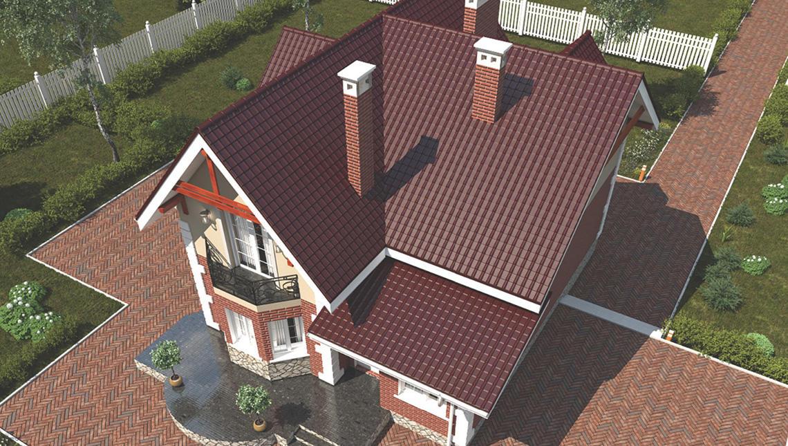 Проект загородного дома с подвалом и с кирпичным фасадом
