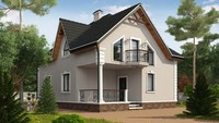 Проект просторного 1,5 этажного загородного дома с красивыми балконами