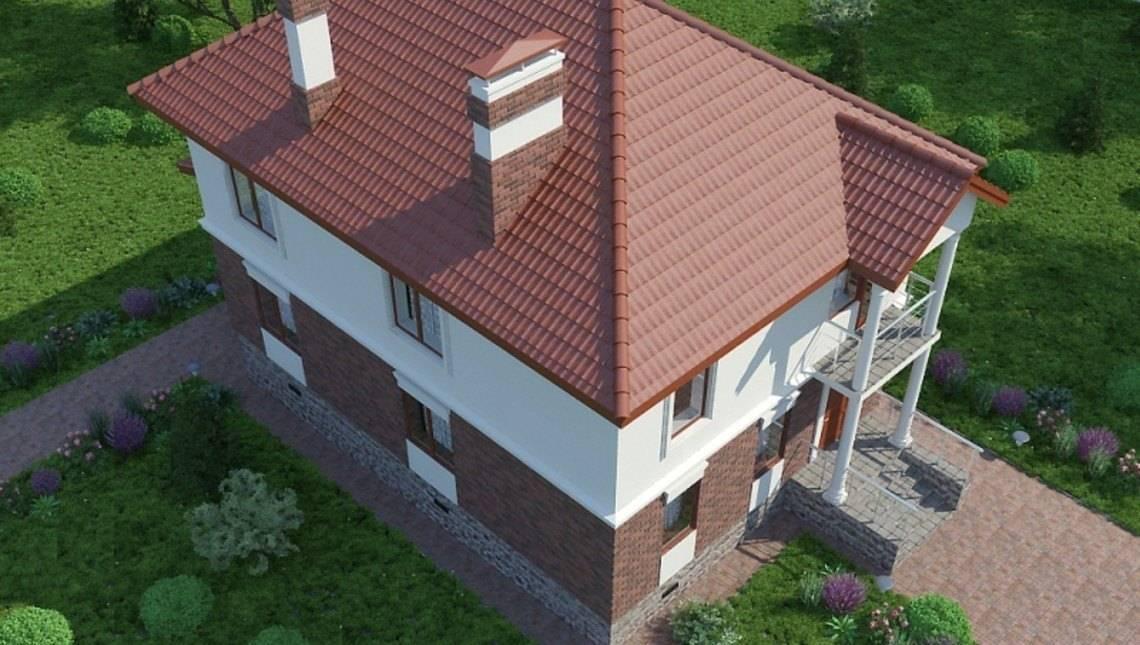 Классический проект двухэтажного дома с просторной террасой