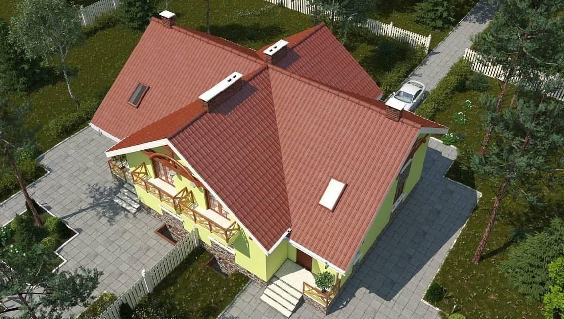 Проект стильного 1.5-этажного коттеджа с многоскатной крышей