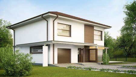 Проект простого двухэтажного дома с гаражом