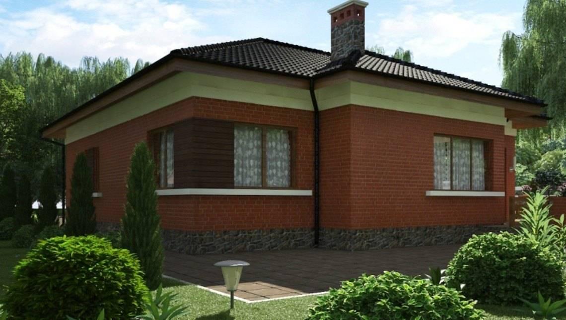 Коттедж с кирпичным фасадом, с сауной и встроенным гаражом