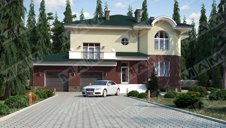 Красивый проект большого особняка с цокольным этажом и гаражом на две машины