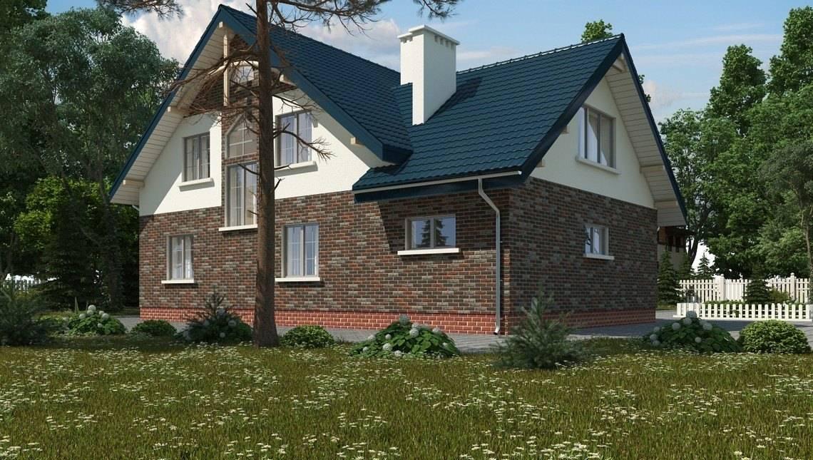 Проект классического загородного коттеджа с верандой