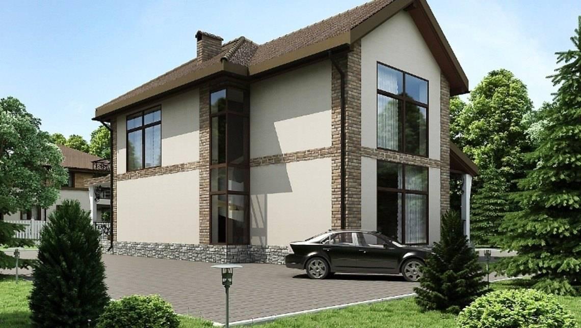 Большой двухэтажный коттедж с огромными панорамными окнами