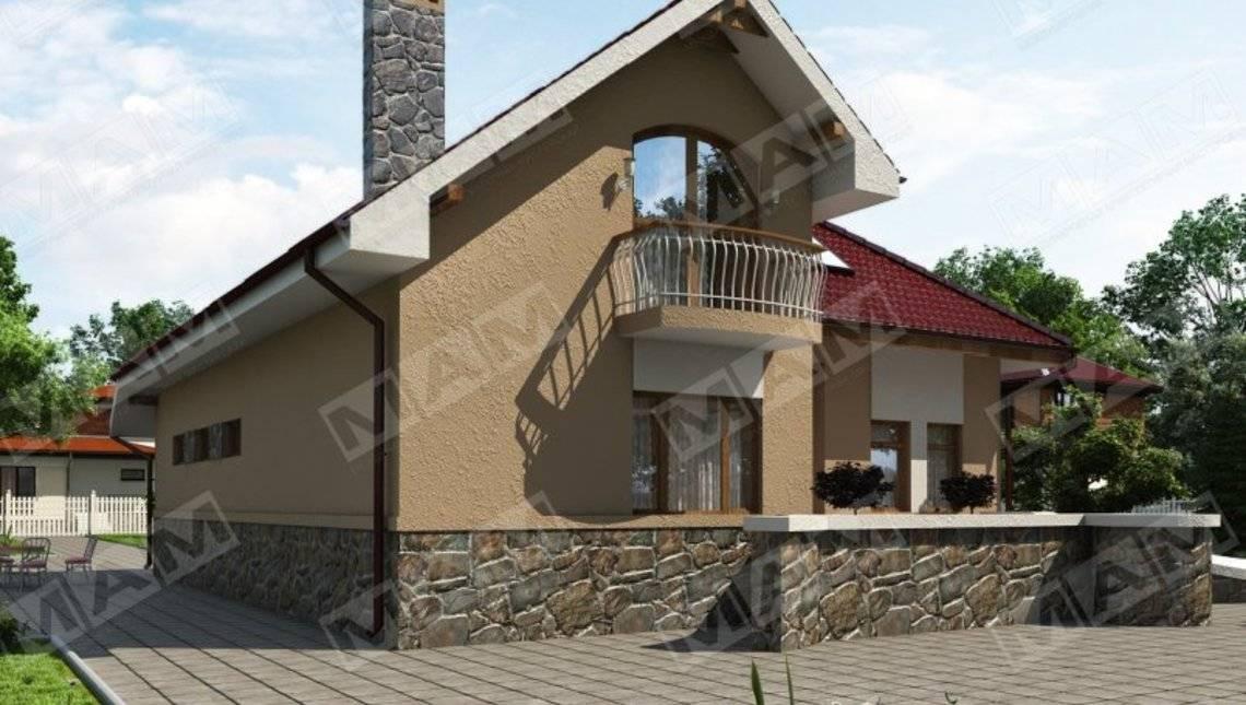 Проект стильного 1,5-этажного дома с гаражом